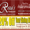 20% Off Reza's Restaurant For The Buzz Readers