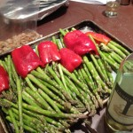 Red peppers and asparagus ready for the grill.  Credit: Jeremy Bressman