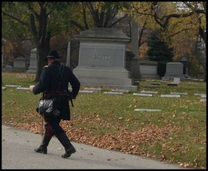 picture of historical reeanactor at Rosehill Cemetary in Chicago IL